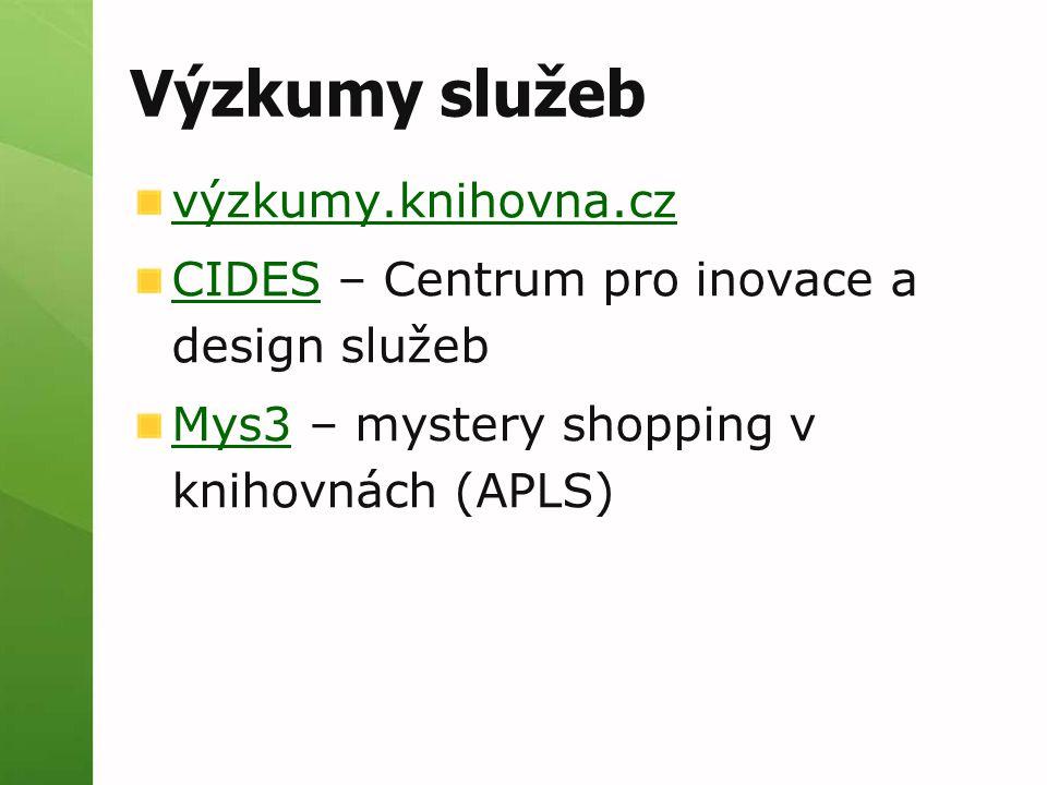 Výzkumy služeb výzkumy.knihovna.cz CIDESCIDES – Centrum pro inovace a design služeb Mys3Mys3 – mystery shopping v knihovnách (APLS)