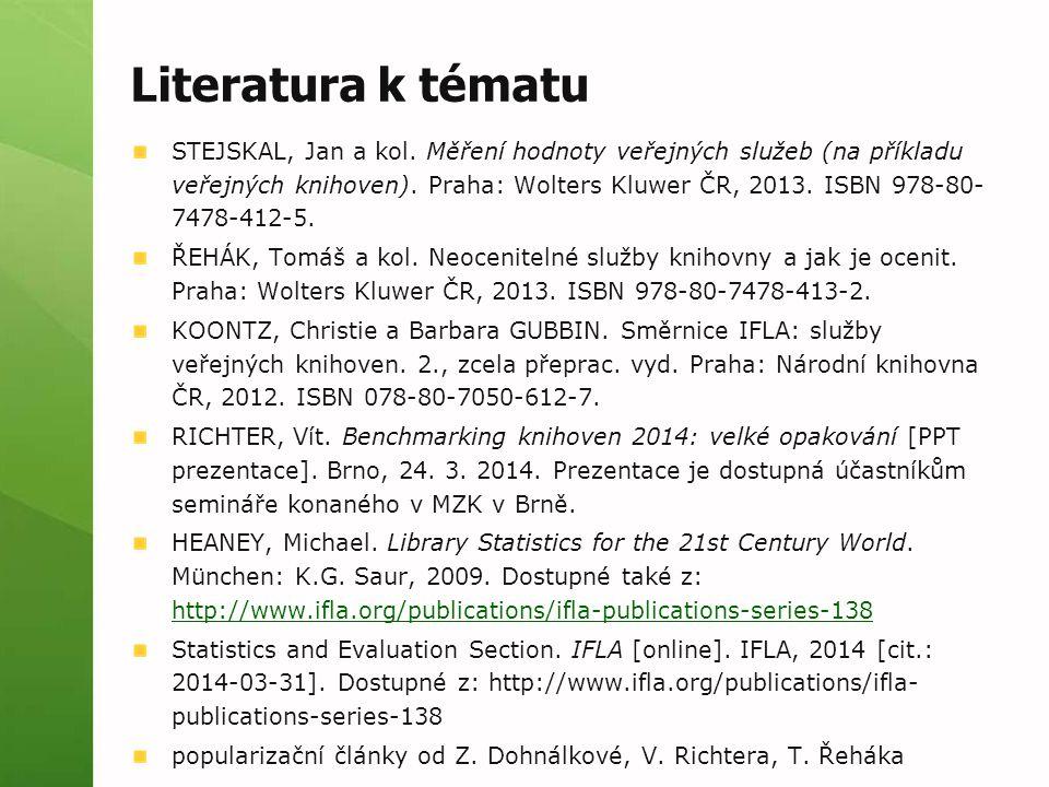 Literatura k tématu STEJSKAL, Jan a kol. Měření hodnoty veřejných služeb (na příkladu veřejných knihoven). Praha: Wolters Kluwer ČR, 2013. ISBN 978-80