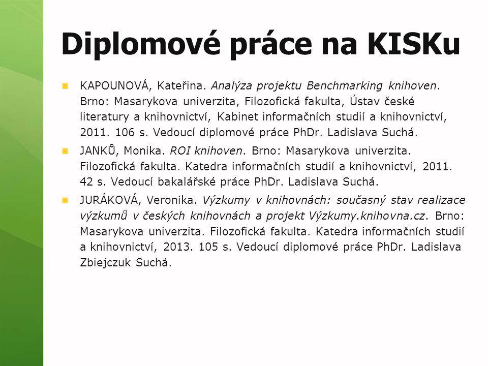 Diplomové práce na KISKu KAPOUNOVÁ, Kateřina. Analýza projektu Benchmarking knihoven.