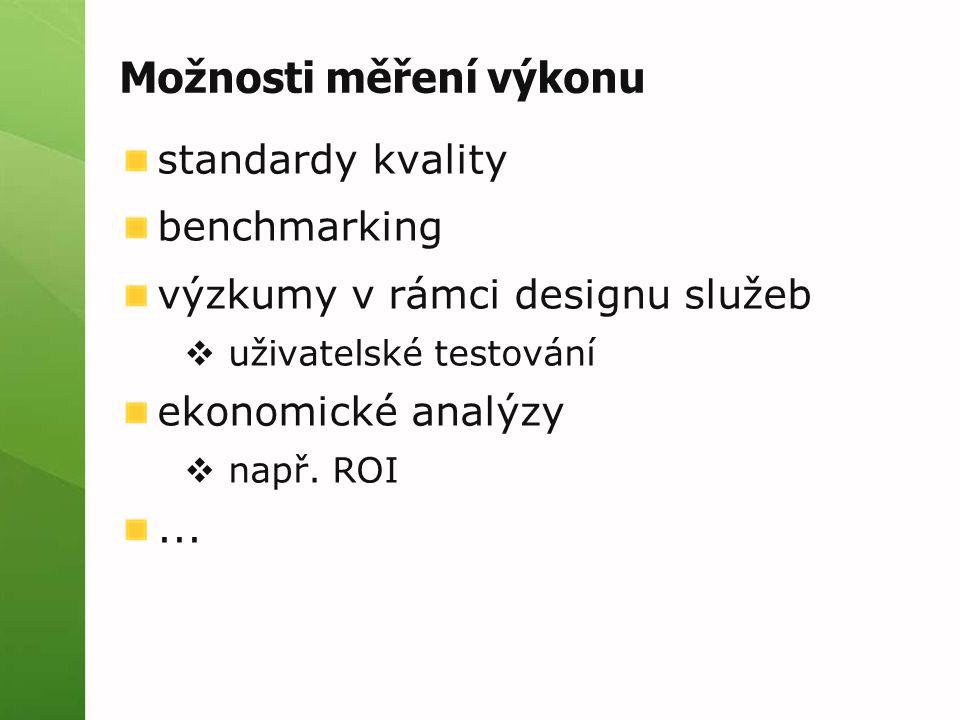 Možnosti měření výkonu standardy kvality benchmarking výzkumy v rámci designu služeb  uživatelské testování ekonomické analýzy  např. ROI...