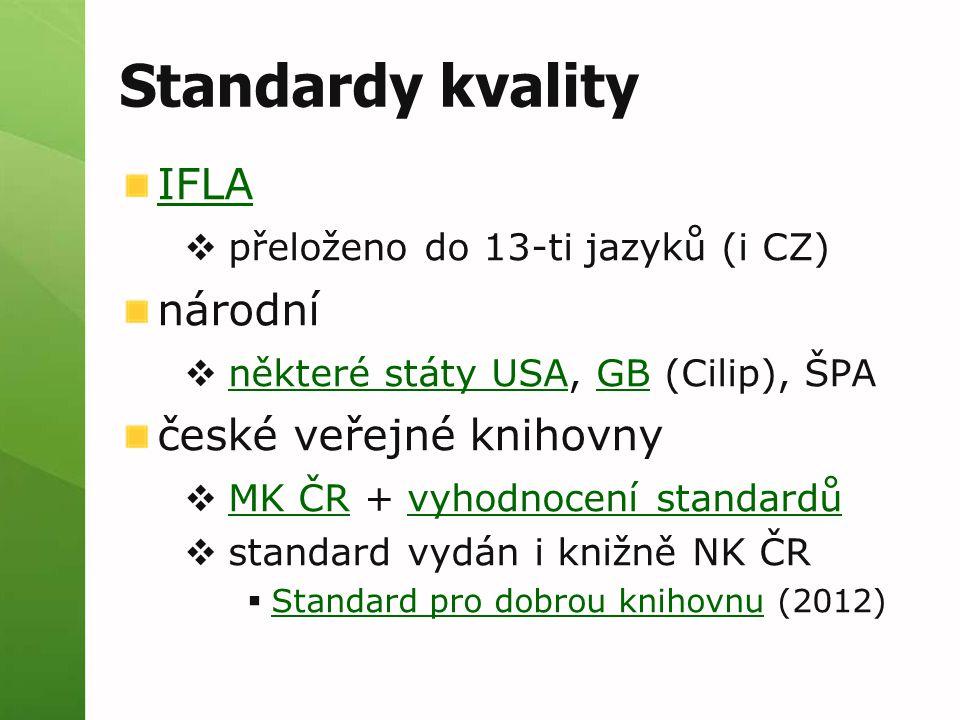 Standardy kvality IFLA  přeloženo do 13-ti jazyků (i CZ) národní  některé státy USA, GB (Cilip), ŠPA některé státy USAGB české veřejné knihovny  MK ČR + vyhodnocení standardů MK ČRvyhodnocení standardů  standard vydán i knižně NK ČR  Standard pro dobrou knihovnu (2012) Standard pro dobrou knihovnu