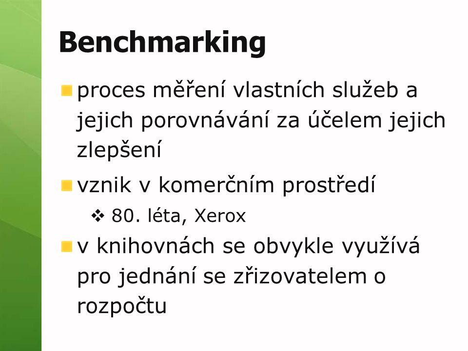 Benchmarking proces měření vlastních služeb a jejich porovnávání za účelem jejich zlepšení vznik v komerčním prostředí  80. léta, Xerox v knihovnách
