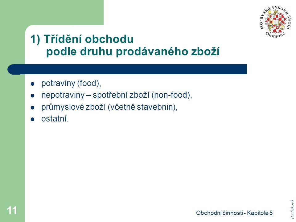 Obchodní činnosti - Kapitola 5 11 1) Třídění obchodu podle druhu prodávaného zboží potraviny (food), nepotraviny – spotřební zboží (non-food), průmysl