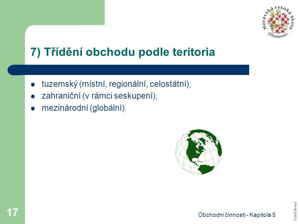 Obchodní činnosti - Kapitola 5 17 7) Třídění obchodu podle teritoria tuzemský (místní, regionální, celostátní), zahraniční (v rámci seskupení), meziná