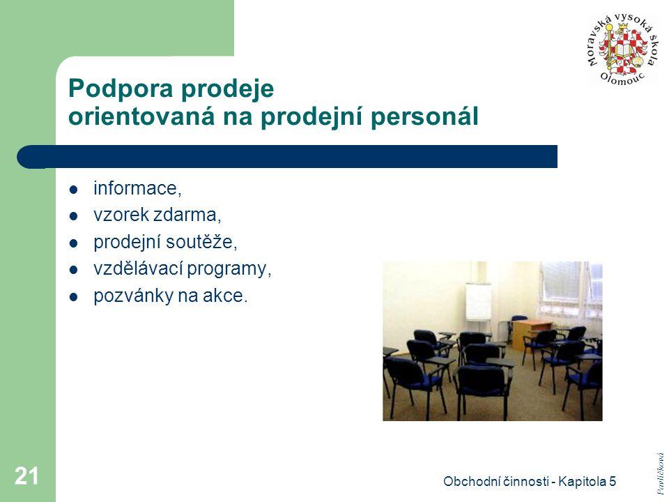 Obchodní činnosti - Kapitola 5 21 Podpora prodeje orientovaná na prodejní personál informace, vzorek zdarma, prodejní soutěže, vzdělávací programy, po