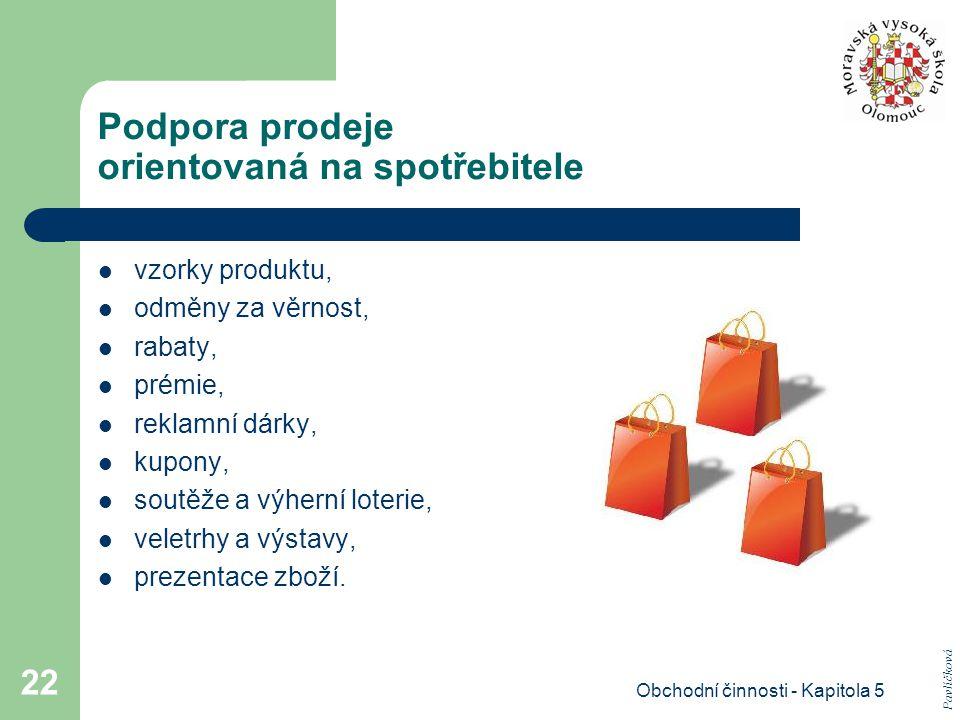 Obchodní činnosti - Kapitola 5 22 Podpora prodeje orientovaná na spotřebitele vzorky produktu, odměny za věrnost, rabaty, prémie, reklamní dárky, kupo