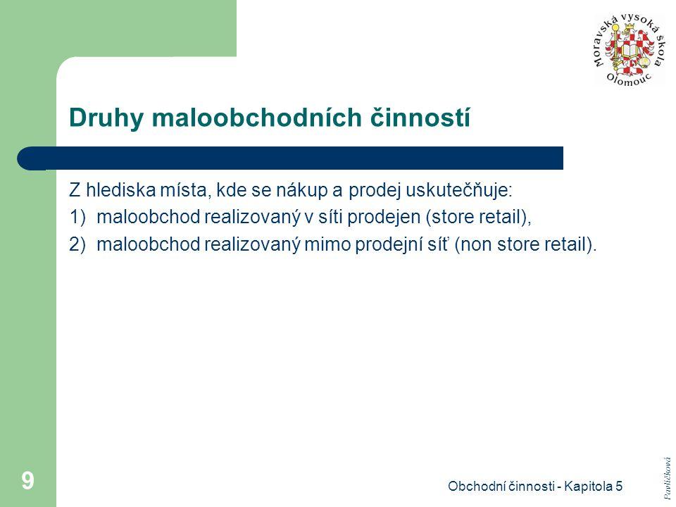 Obchodní činnosti - Kapitola 5 9 Druhy maloobchodních činností Z hlediska místa, kde se nákup a prodej uskutečňuje: 1) maloobchod realizovaný v síti p