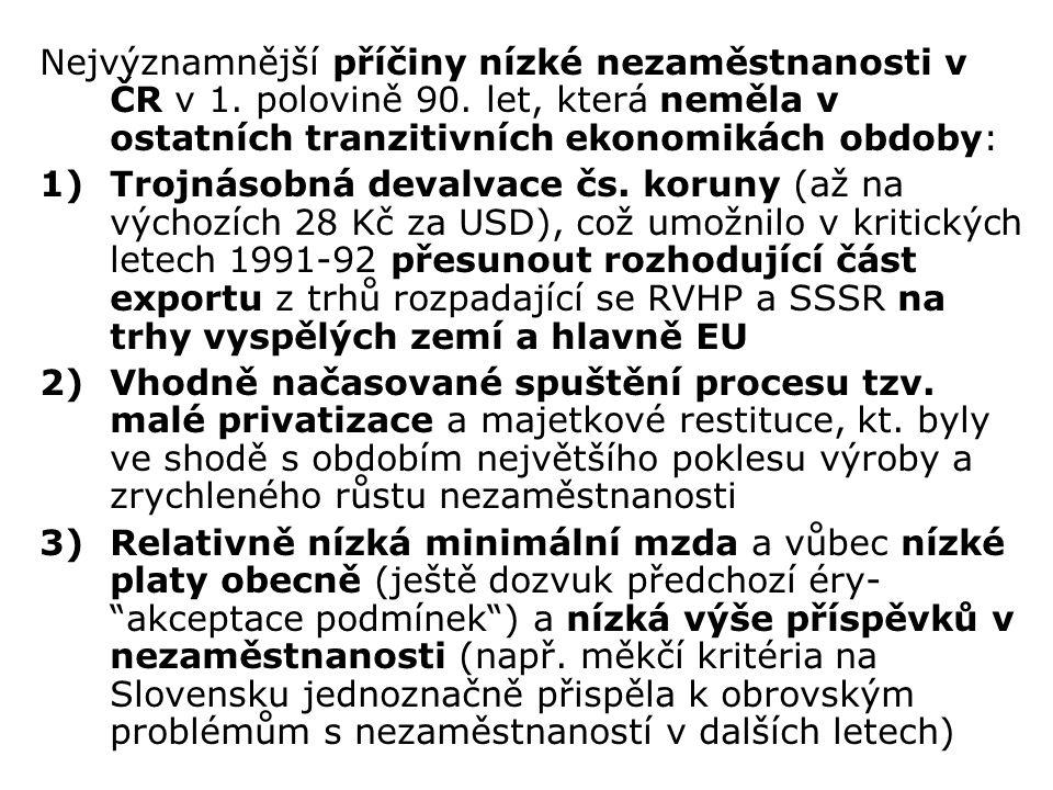 Nejvýznamnější příčiny nízké nezaměstnanosti v ČR v 1.