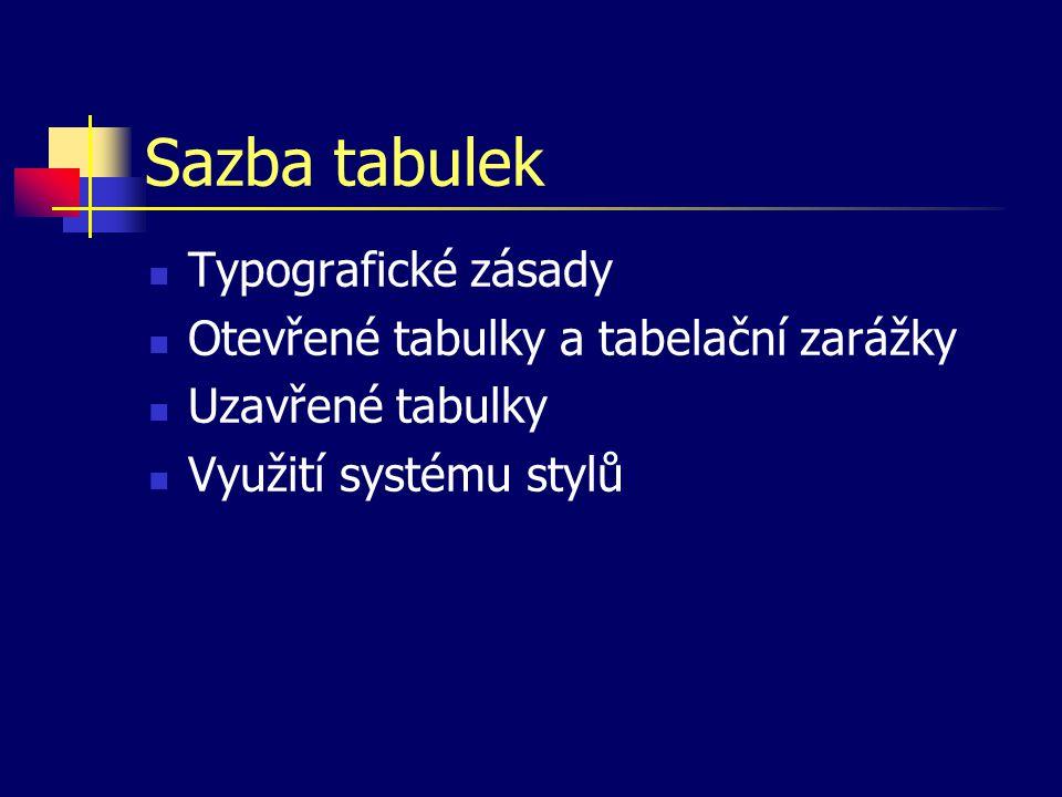 Sazba tabulek Typografické zásady Otevřené tabulky a tabelační zarážky Uzavřené tabulky Využití systému stylů