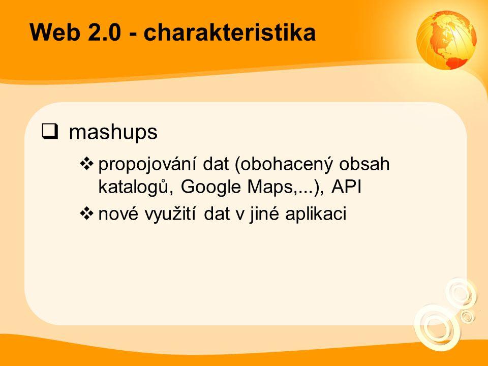 Web 2.0 - charakteristika  mashups  propojování dat (obohacený obsah katalogů, Google Maps,...), API  nové využití dat v jiné aplikaci