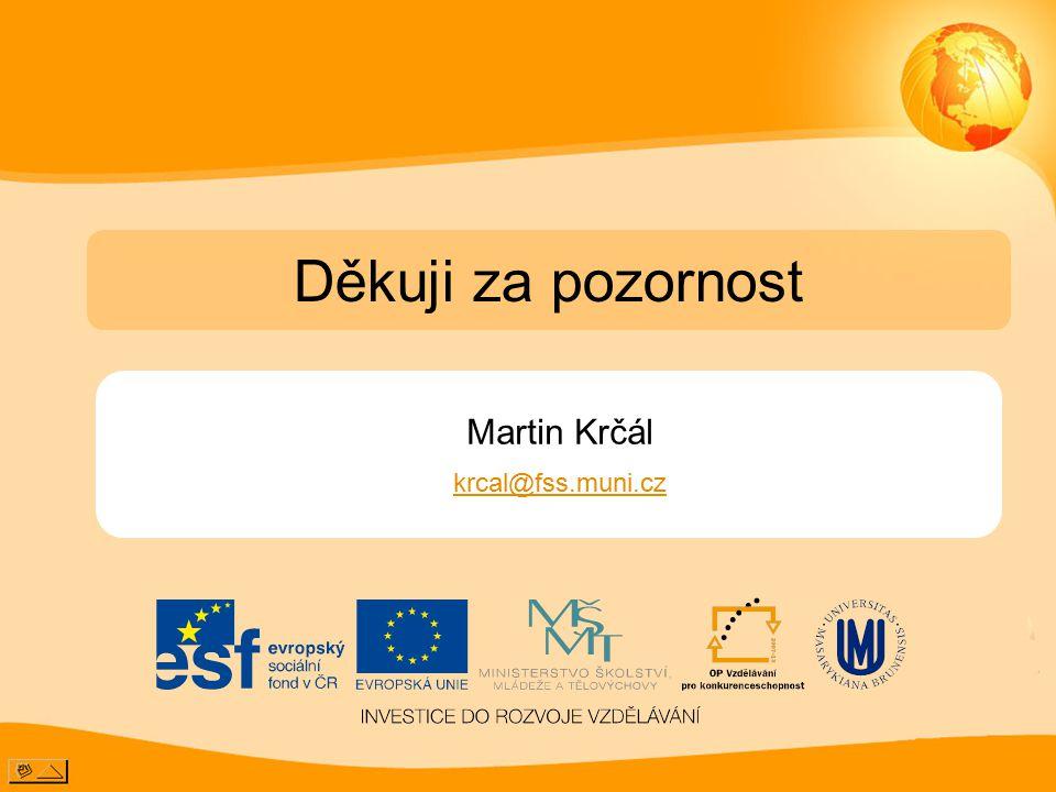 Martin Krčál krcal@fss.muni.cz Děkuji za pozornost