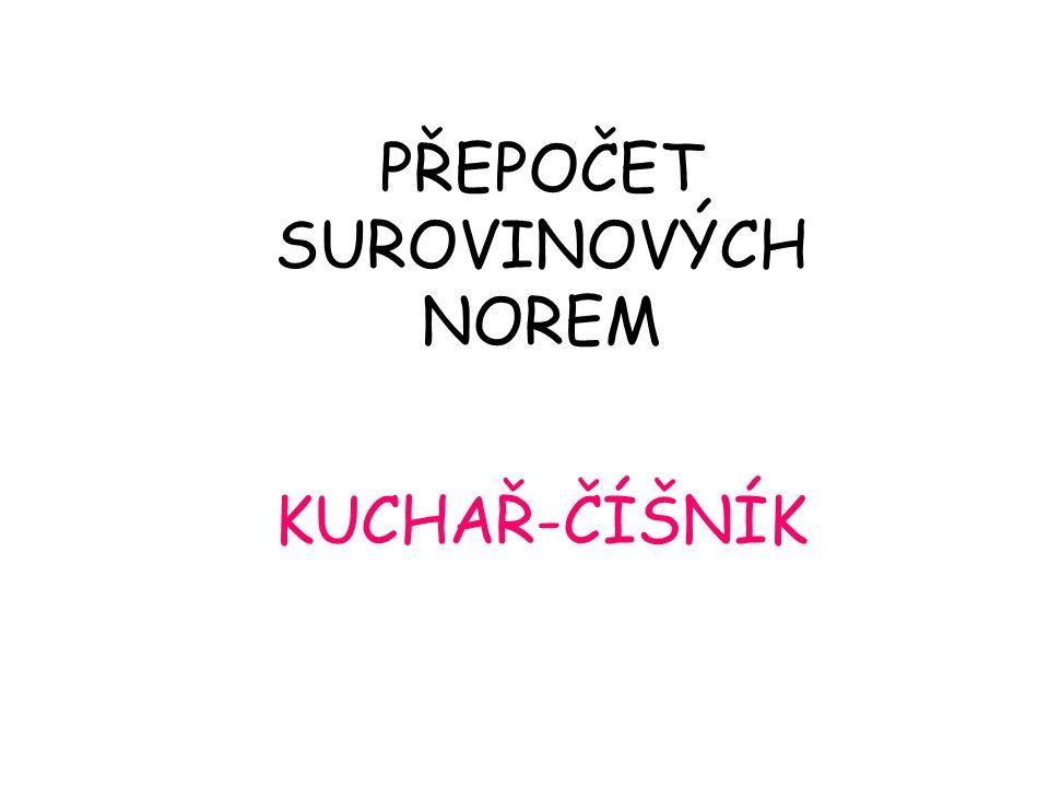 KUCHAŘ-ČÍŠNÍK PŘEPOČET SUROVINOVÝCH NOREM