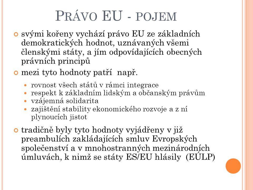 P RÁVO EU - POJEM svými kořeny vychází právo EU ze základních demokratických hodnot, uznávaných všemi členskými státy, a jím odpovídajících obecných p
