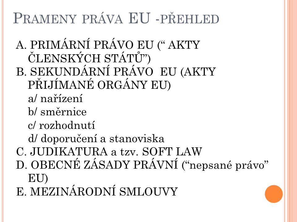 """P RAMENY PRÁVA EU - PŘEHLED A. PRIMÁRNÍ PRÁVO EU ("""" AKTY ČLENSKÝCH STÁTŮ"""") B. SEKUNDÁRNÍ PRÁVO EU (AKTY PŘIJÍMANÉ ORGÁNY EU) a/ nařízení b/ směrnice c"""