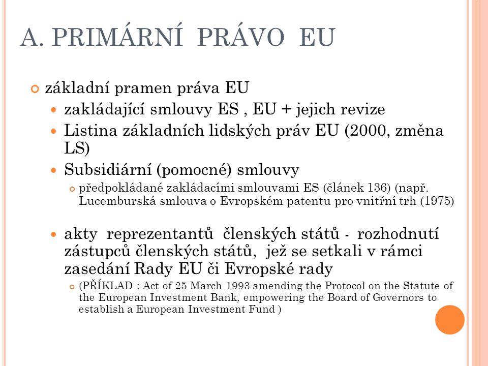 A. PRIMÁRNÍ PRÁVO EU základní pramen práva EU zakládající smlouvy ES, EU + jejich revize Listina základních lidských práv EU (2000, změna LS) Subsidiá