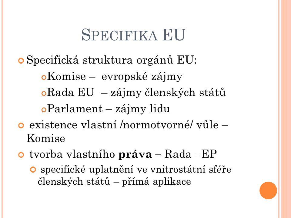 S PECIFIKA EU Specifická struktura orgánů EU: Komise – evropské zájmy Rada EU – zájmy členských států Parlament – zájmy lidu existence vlastní /normot