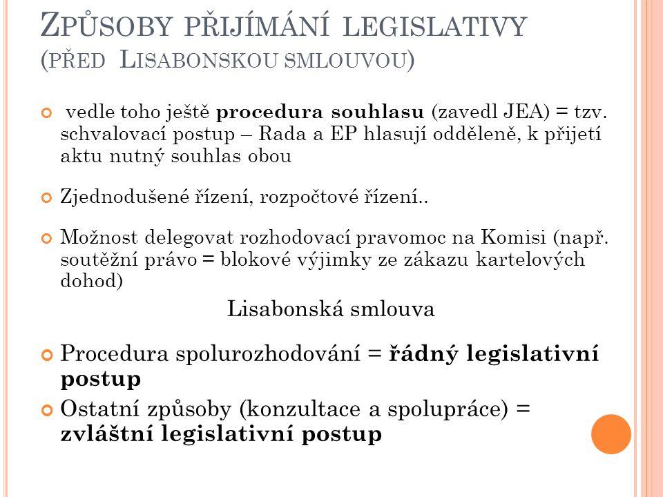 Z PŮSOBY PŘIJÍMÁNÍ LEGISLATIVY ( PŘED L ISABONSKOU SMLOUVOU ) vedle toho ještě procedura souhlasu (zavedl JEA) = tzv. schvalovací postup – Rada a EP h