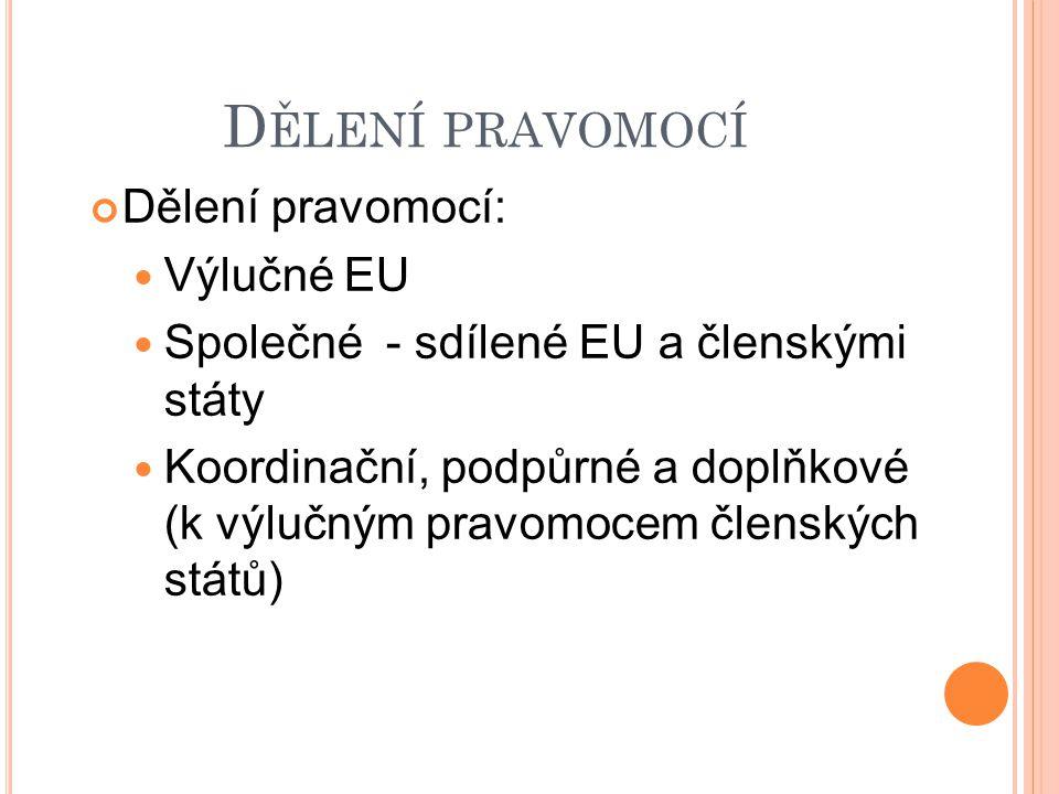 VÝLUČNÉ PRAVOMOCI EU Výlučné pravomoc i EU - taxativně 6 oblastí: celní unie společná měna společná obchodní politika hospodářská soutěž zachování biologických mořských zdrojů v rámci politiky rybolovu uzavírání vnějších smluv Na základě legislativního aktu EU, nutných k výkonu vnitřní pravomoci (obchodní smlouvy), 5