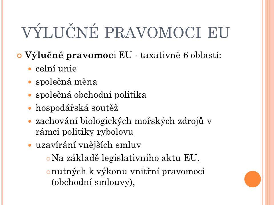 VÝLUČNÉ PRAVOMOCI EU Výlučné pravomoc i EU - taxativně 6 oblastí: celní unie společná měna společná obchodní politika hospodářská soutěž zachování bio