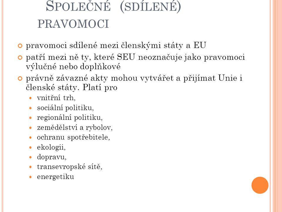 S POLEČNÉ ( SDÍLENÉ ) PRAVOMOCI pravomoci sdílené mezi členskými státy a EU patří mezi ně ty, které SEU neoznačuje jako pravomoci výlučné nebo doplňko
