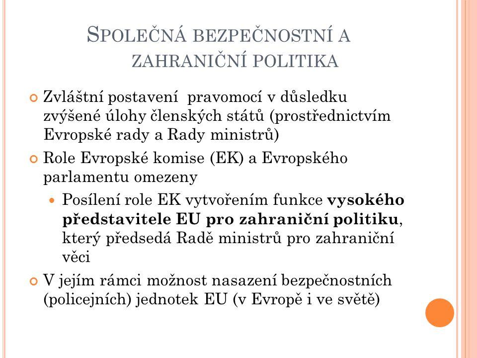 S POLEČNÁ BEZPEČNOSTNÍ A ZAHRANIČNÍ POLITIKA Zvláštní postavení pravomocí v důsledku zvýšené úlohy členských států (prostřednictvím Evropské rady a Ra