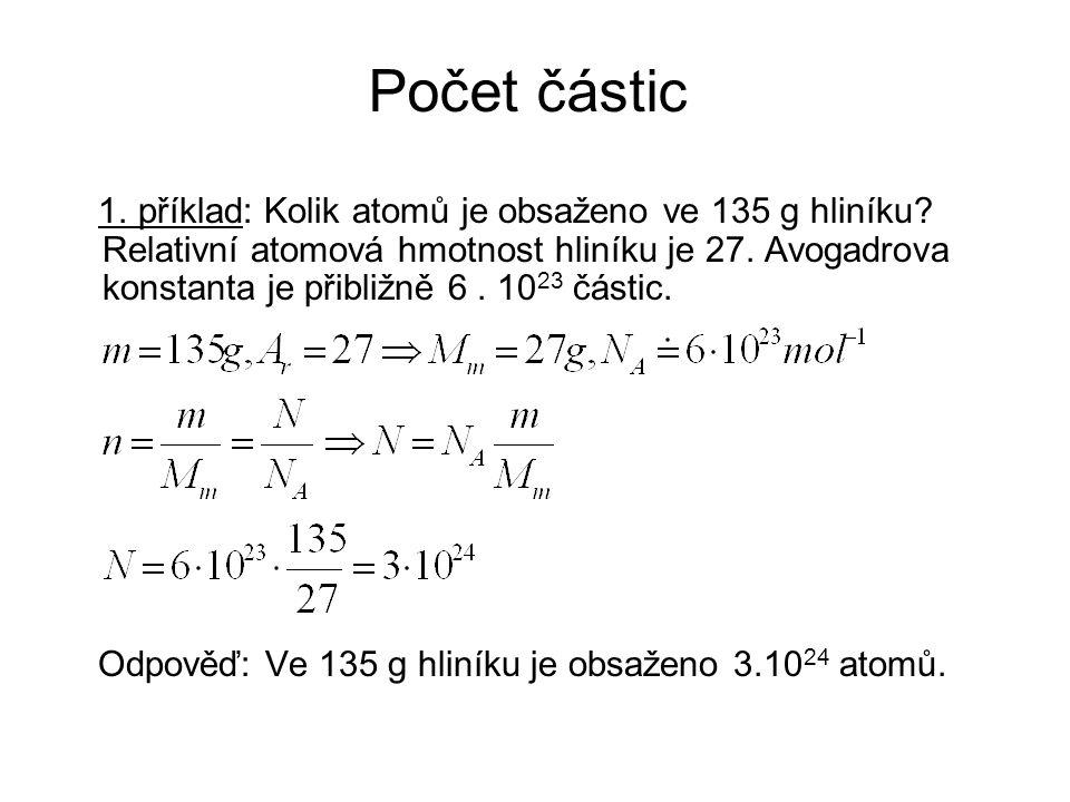 Počet částic 1. příklad: Kolik atomů je obsaženo ve 135 g hliníku.