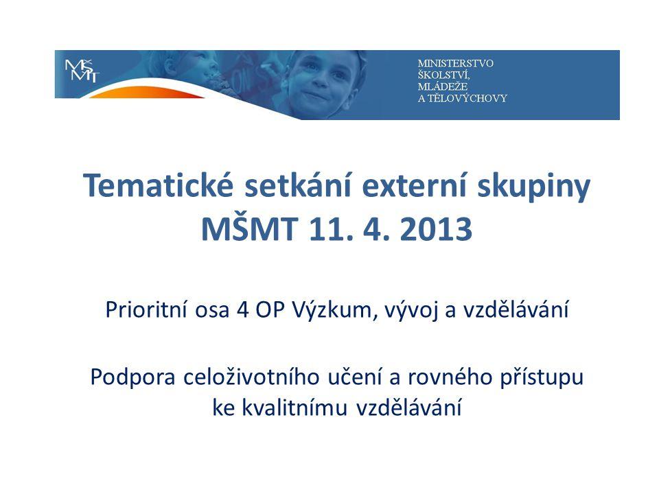 Specifický cíl 4 Rozvoj systému hodnocení kvality a strategického řízení ve vzdělávání