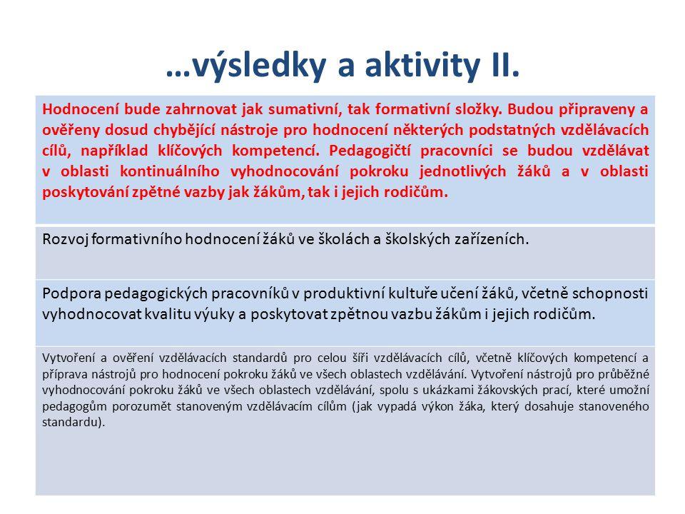 …výsledky a aktivity II. Hodnocení bude zahrnovat jak sumativní, tak formativní složky.