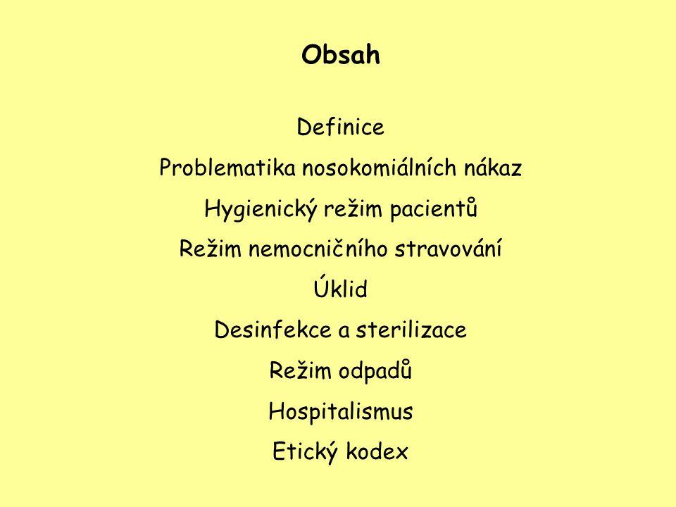 Obsah Definice Problematika nosokomiálních nákaz Hygienický režim pacientů Režim nemocničního stravování Úklid Desinfekce a sterilizace Režim odpadů H