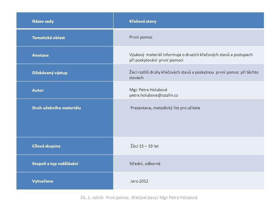 Název sady Křečové stavy Tematická oblast První pomoc Anotace Výukový materiál informuje o druzích křečových stavů a postupech při poskytování první p