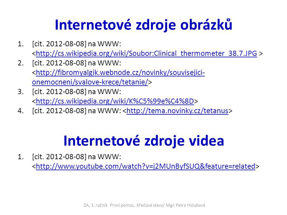 Internetové zdroje obrázků 1.[cit. 2012-08-08] na WWW: http://cs.wikipedia.org/wiki/Soubor:Clinical_thermometer_38.7.JPG 2.[cit. 2012-08-08] na WWW: h