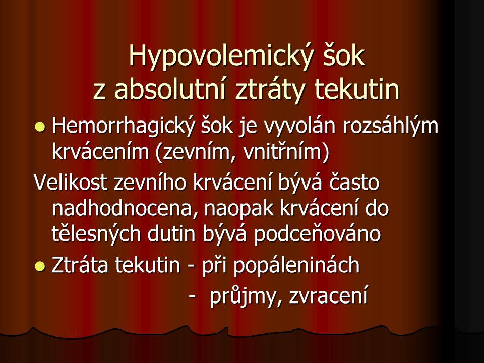 Hypovolemický šok z absolutní ztráty tekutin Hemorrhagický šok je vyvolán rozsáhlým krvácením (zevním, vnitřním) Hemorrhagický šok je vyvolán rozsáhlý