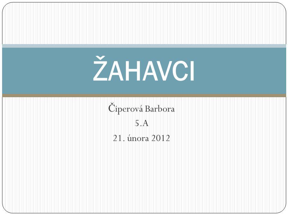 Č iperová Barbora 5.A 21. února 2012 ŽAHAVCI