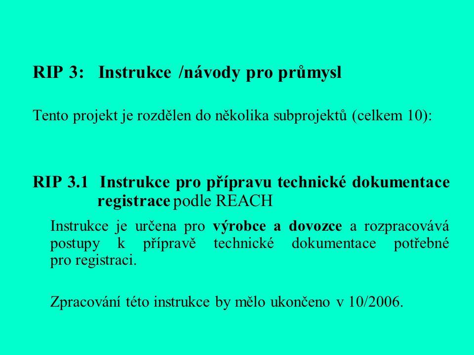 RIP 3: Instrukce /návody pro průmysl Tento projekt je rozdělen do několika subprojektů (celkem 10): RIP 3.1 Instrukce pro přípravu technické dokumentace registrace podle REACH Instrukce je určena pro výrobce a dovozce a rozpracovává postupy k přípravě technické dokumentace potřebné pro registraci.