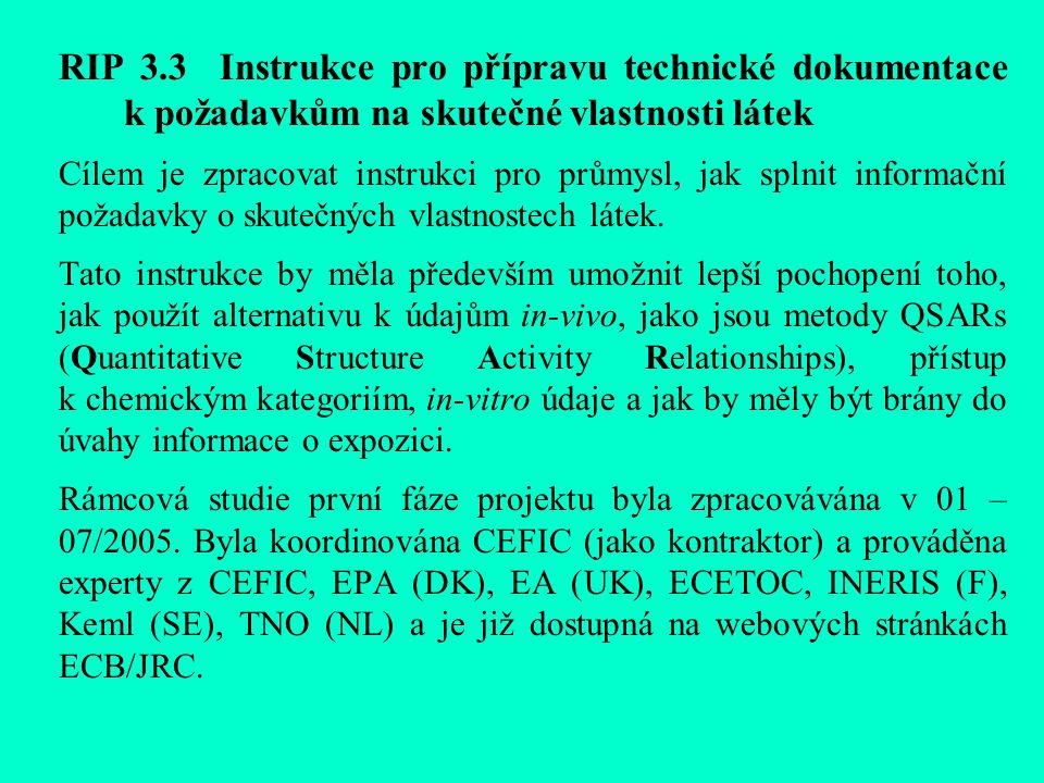 RIP 3.3 Instrukce pro přípravu technické dokumentace k požadavkům na skutečné vlastnosti látek Cílem je zpracovat instrukci pro průmysl, jak splnit informační požadavky o skutečných vlastnostech látek.