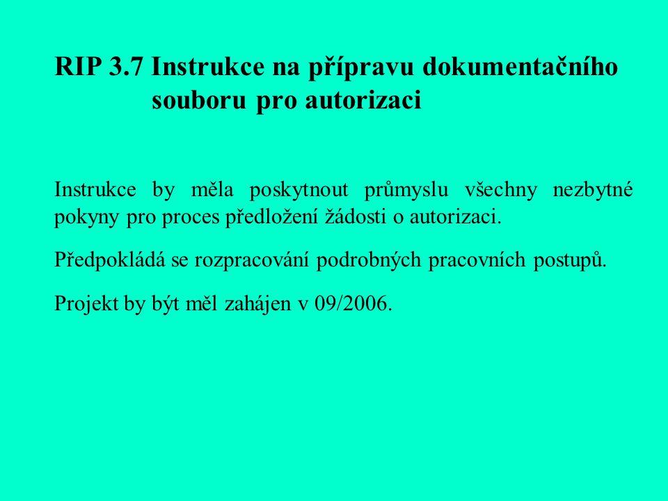 RIP 3.7 Instrukce na přípravu dokumentačního souboru pro autorizaci Instrukce by měla poskytnout průmyslu všechny nezbytné pokyny pro proces předložení žádosti o autorizaci.
