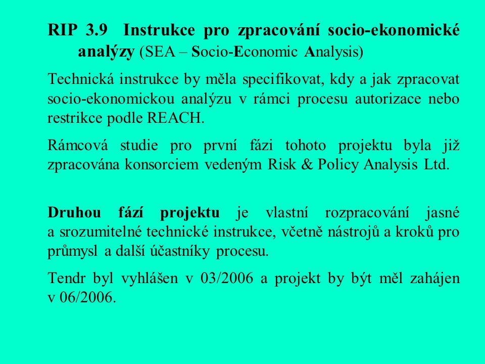 RIP 3.9 Instrukce pro zpracování socio-ekonomické analýzy (SEA – Socio-Economic Analysis) Technická instrukce by měla specifikovat, kdy a jak zpracovat socio-ekonomickou analýzu v rámci procesu autorizace nebo restrikce podle REACH.