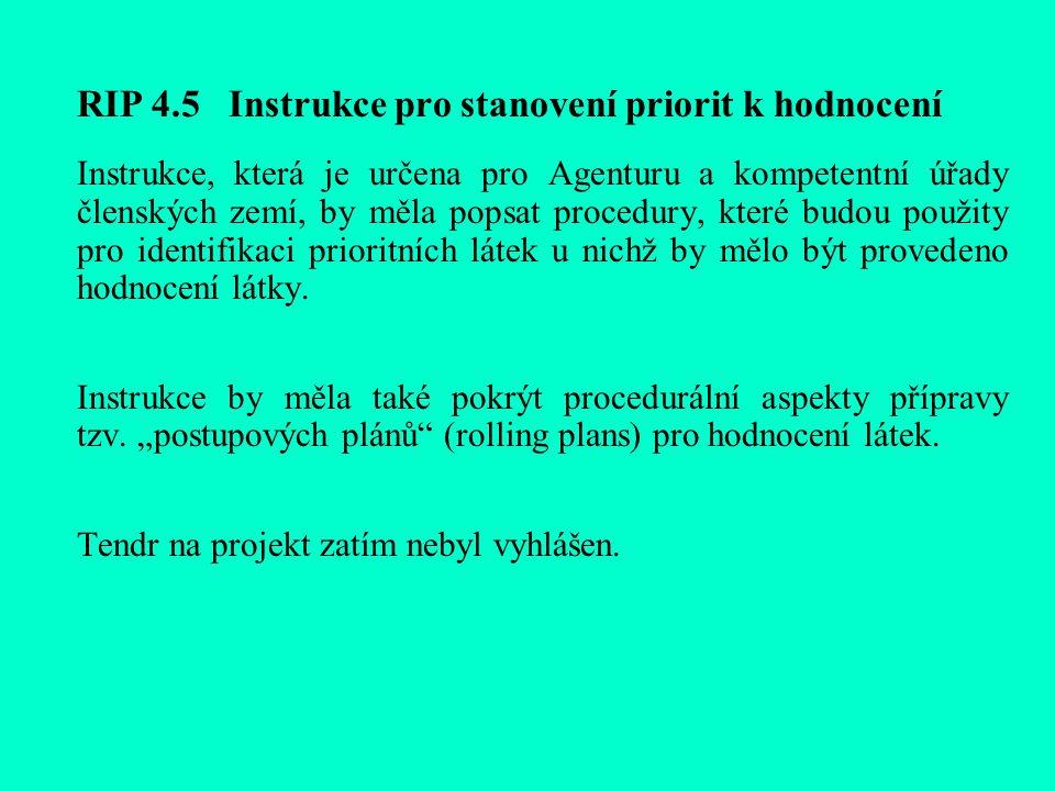 RIP 4.5 Instrukce pro stanovení priorit k hodnocení Instrukce, která je určena pro Agenturu a kompetentní úřady členských zemí, by měla popsat procedury, které budou použity pro identifikaci prioritních látek u nichž by mělo být provedeno hodnocení látky.