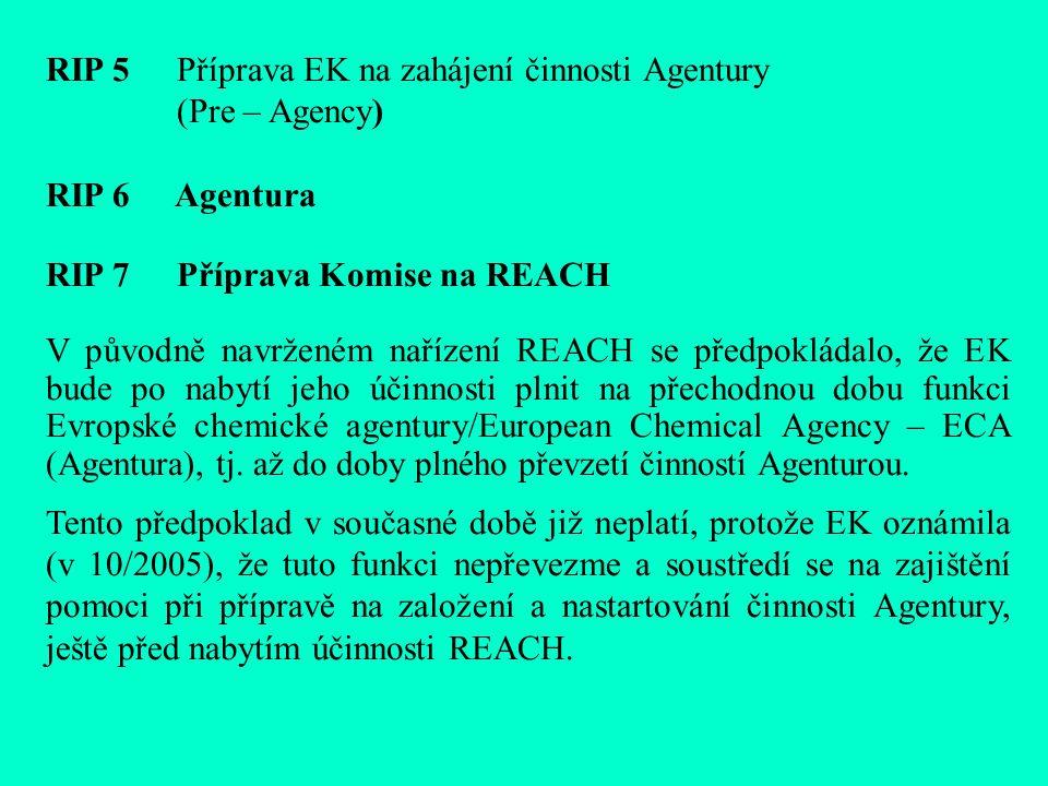 RIP 5 Příprava EK na zahájení činnosti Agentury (Pre – Agency) RIP 6 Agentura RIP 7 Příprava Komise na REACH V původně navrženém nařízení REACH se předpokládalo, že EK bude po nabytí jeho účinnosti plnit na přechodnou dobu funkci Evropské chemické agentury/European Chemical Agency – ECA (Agentura), tj.