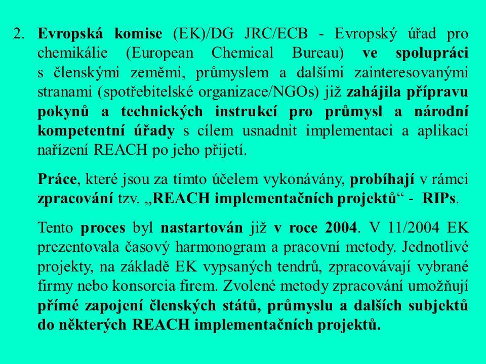 2.Evropská komise (EK)/DG JRC/ECB - Evropský úřad pro chemikálie (European Chemical Bureau) ve spolupráci s členskými zeměmi, průmyslem a dalšími zainteresovanými stranami (spotřebitelské organizace/NGOs) již zahájila přípravu pokynů a technických instrukcí pro průmysl a národní kompetentní úřady s cílem usnadnit implementaci a aplikaci nařízení REACH po jeho přijetí.