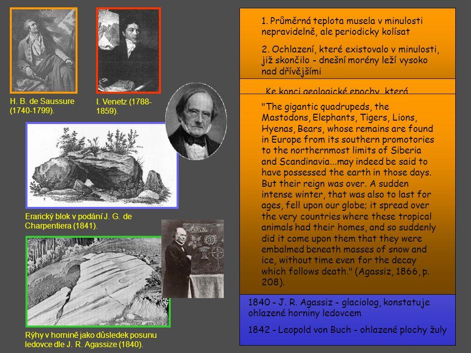1839 - Ch. Lyell - pliocén a pleistocén, definice kvartéru, pomalé vymírání vel. fauny 1846 - H. B. Geinitz - znovu název kvartér 1846 - prof. Edward