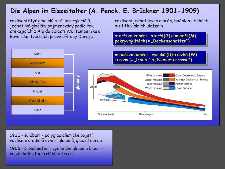 polovina 19. stol. - A. von Morlot - návrh členění na glaciály a interglaciály 1880 - A. Penck a K. Keilhack - sedimenty s fosiliemi mezi dvěma zaledn