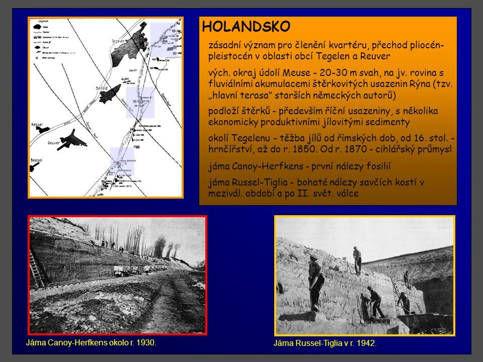 HOLANDSKO Chronostratigrafické členění plio-pleistocénu v oblasti Holandska.