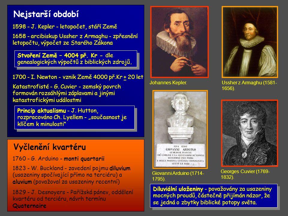 1856 - prof.A. von Morlot - dvě zalednění ve Švýcarsku 1858 - J.