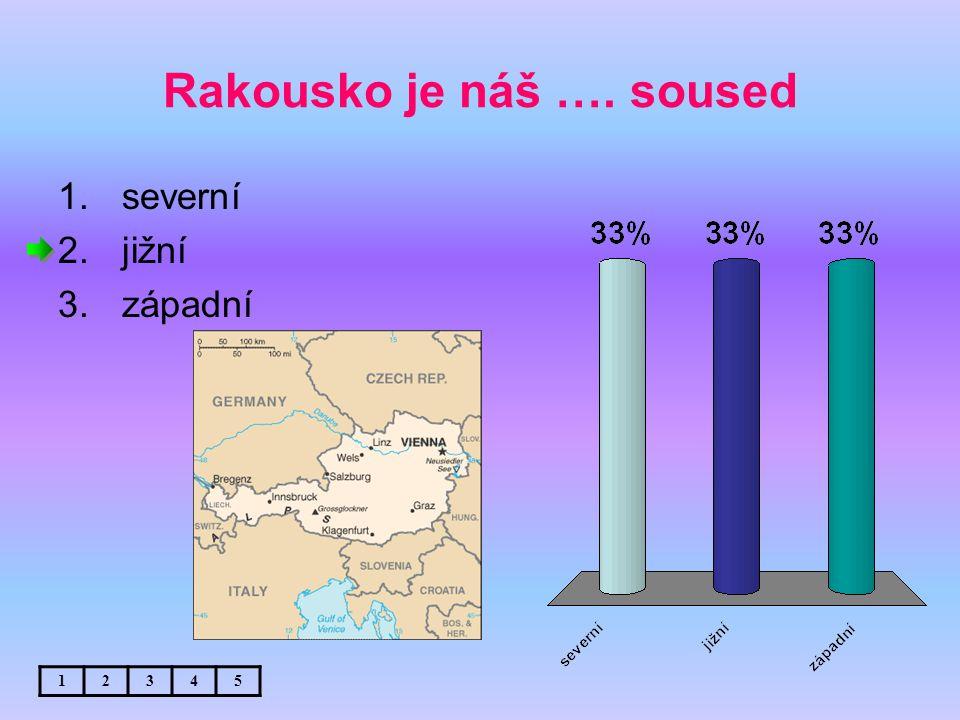 Rakousko je náš …. soused 1.severní 2.jižní 3.západní 12345