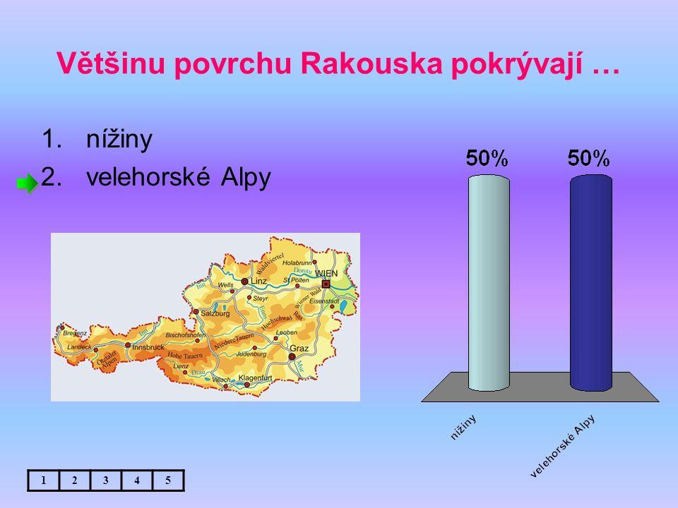 Většinu povrchu Rakouska pokrývají … 1.nížiny 2.velehorské Alpy 12345