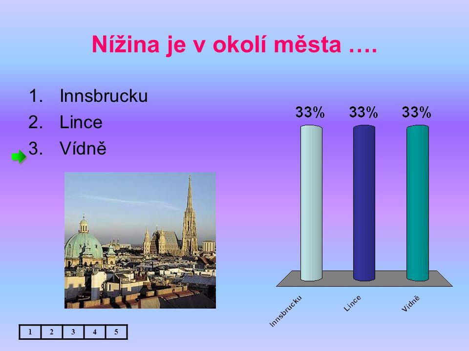 Nížina je v okolí města …. 1.Innsbrucku 2.Lince 3.Vídně 12345