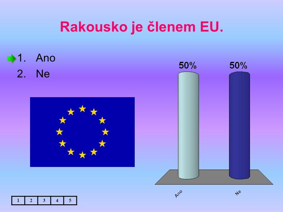 Rakousko je členem EU. 1.Ano 2.Ne 12345