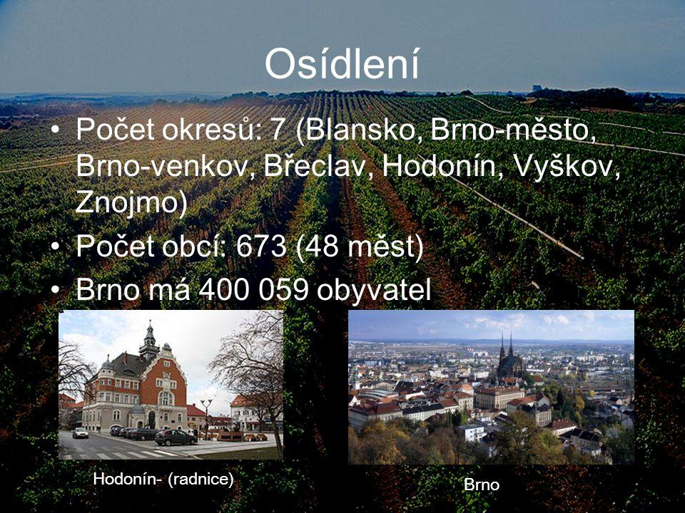 Osídlení Počet okresů: 7 (Blansko, Brno-město, Brno-venkov, Břeclav, Hodonín, Vyškov, Znojmo) Počet obcí: 673 (48 měst) Brno má 400 059 obyvatel Hodon