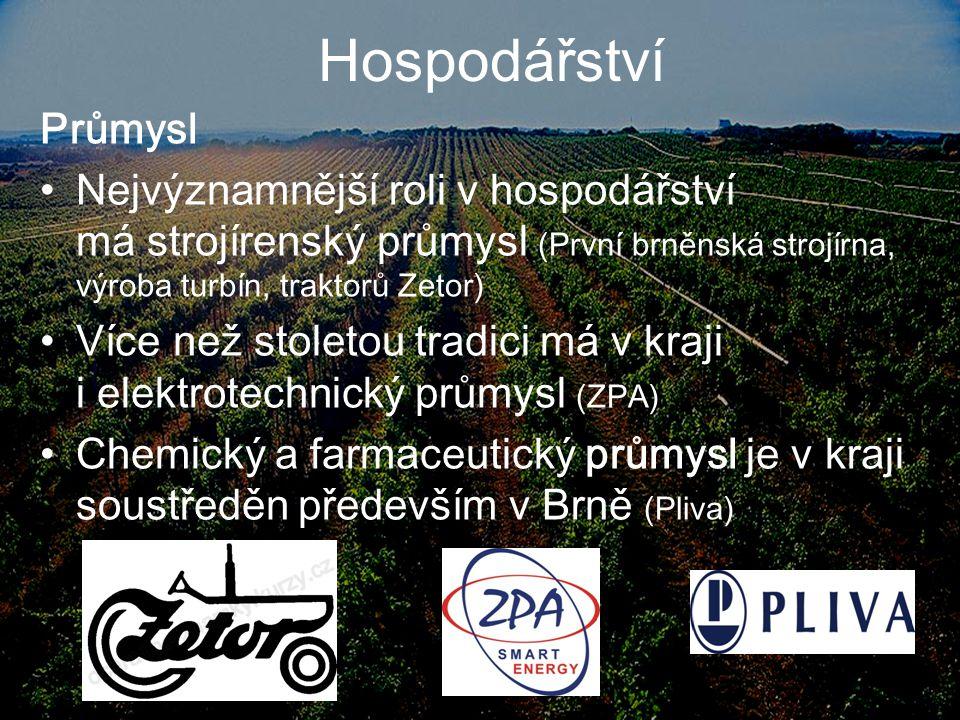 Hospodářství Zemědělství pěstování obilnin, ovoce a zeleniny přes 96% vinic v České republice leží právě na jižní Moravě Hodně rozšířený je zde chov prasat a vodní drůbeže Známé jsou také Znojemské okurky